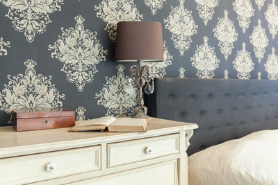 Flocked wallpaper lends a textured look to walls.