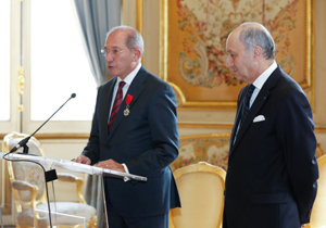 OPCW Director-General Ahmet Üzümcü (left) with Laurent Fabius, French Minister of Foreign Affairs and International Development.