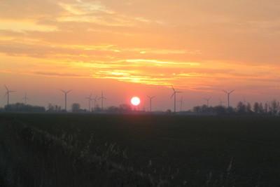 Medium wind turbine dawn