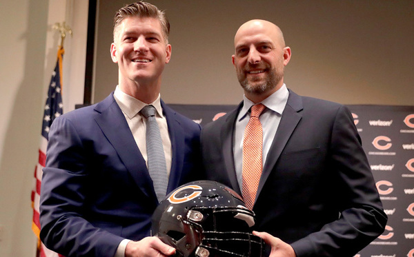 Matt Nagy poses with Bears General Manager Ryan Pace.