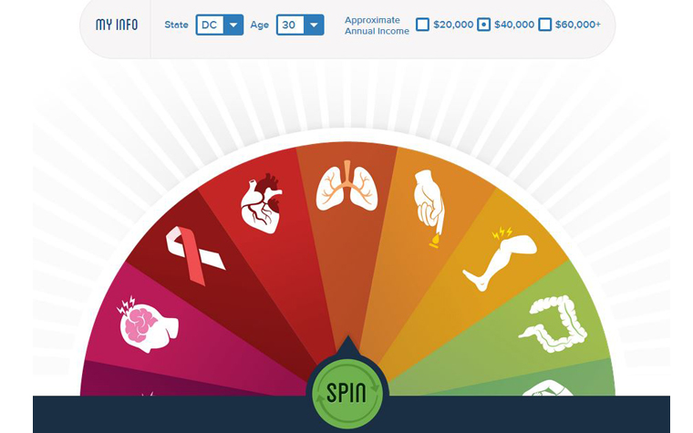 A portion of the interactive tool from the National Health Council