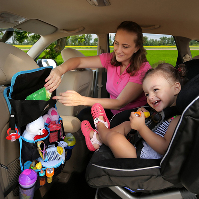 A back seat organizer can help keep a parent's car from becoming a cluttered mess.