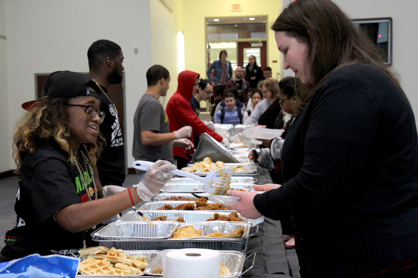 Students enjoying Soul Food Luncheon hosted by the BLSA
