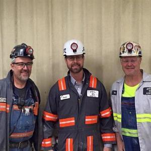 U.S. Rep. Rodney Davis (center) with Shay Mine No. 1 workers
