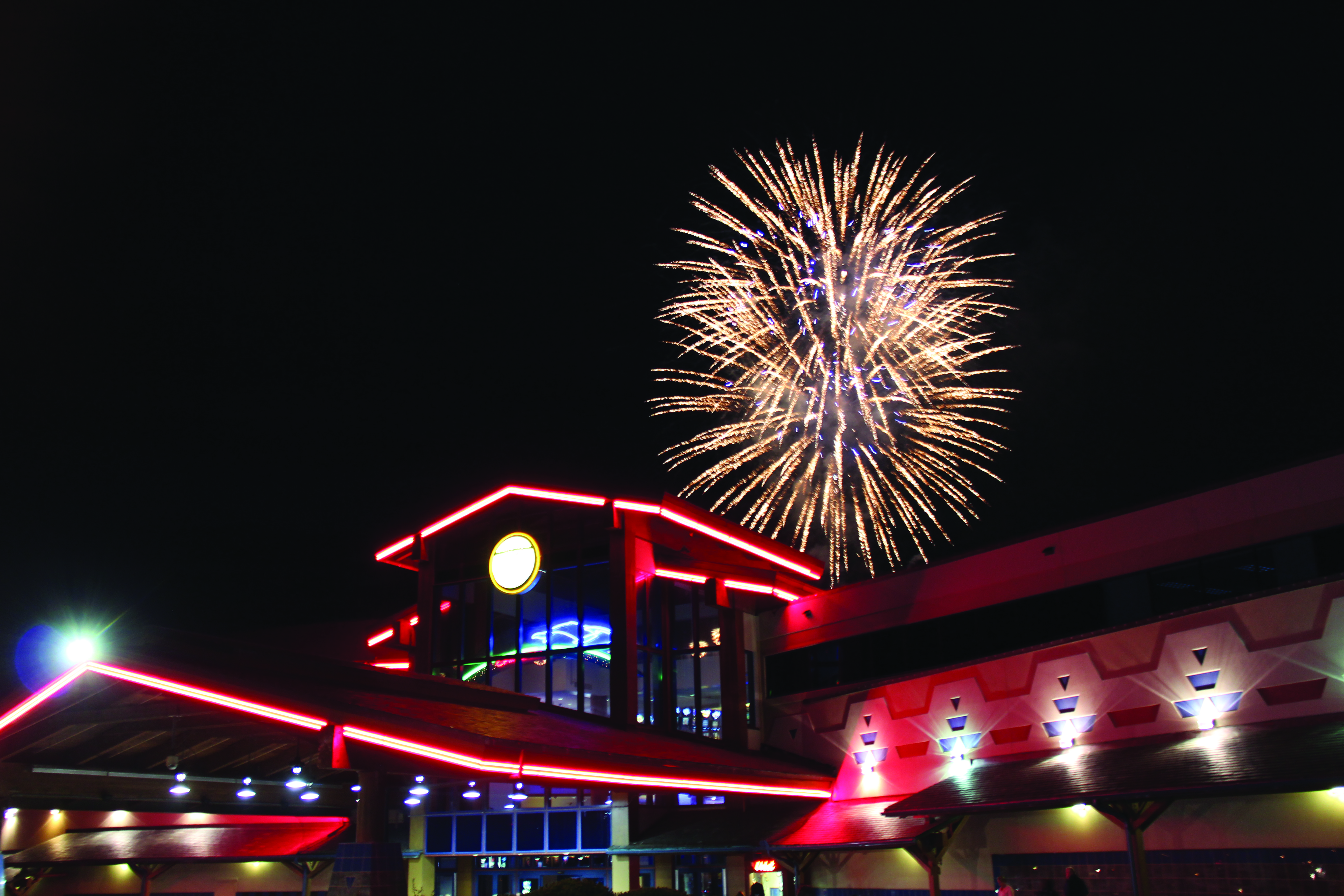 A fireworks display at the Chinook Winds Casino Resort lights up the night.