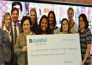 Bcureful donates $35,000 to fund the TSC Center at Ann & Robert H. Lurie Children's Hospital of Chicago. Pictured back row, left to right: Bcureful Board Member, Cindy Raymond; Bcureful Donors, Steven and Melissa Esposito; Josephine DeLira, Epilepsy Cent