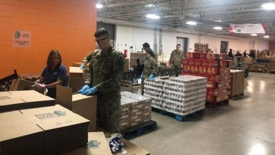Members of the Michigan National Guard help food banks throughout Michigan.
