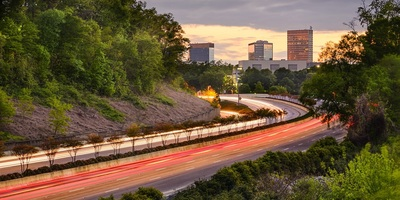 Greenville, South Carolina skyline above Interstate 385