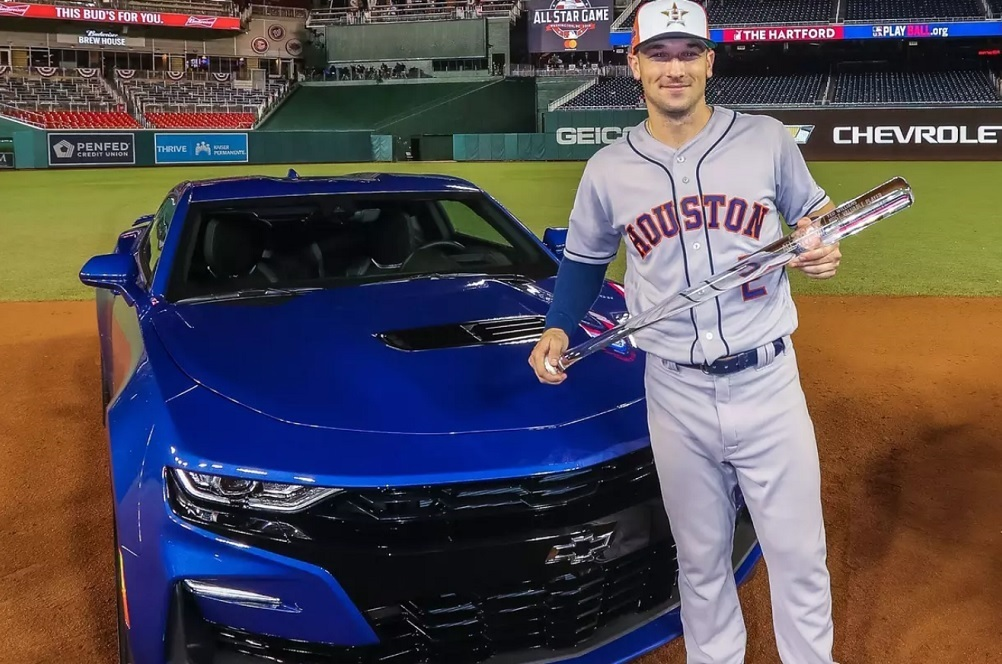 Alex Bregman of the Houston Astros was given the opportunity to choose a new Chevrolet vehicle as part of his recognition.
