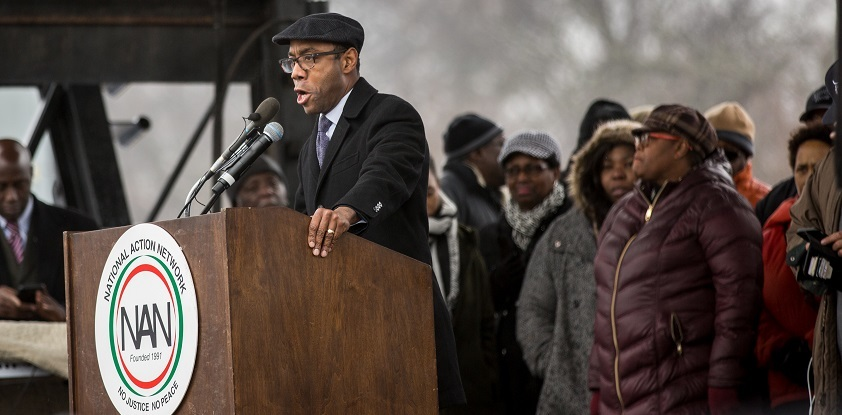 Cornell Brooks, President and CEO of the NAACP, led a protest against Sen. Jeff Sessions in Mobile on Jan. 30. He is pictured here at a Washington, D.C. rally that took place on Jan. 17, 2017.