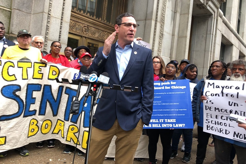 Re-elected Chicago Teachers Union President Jesse Sharkey during a press conference in June