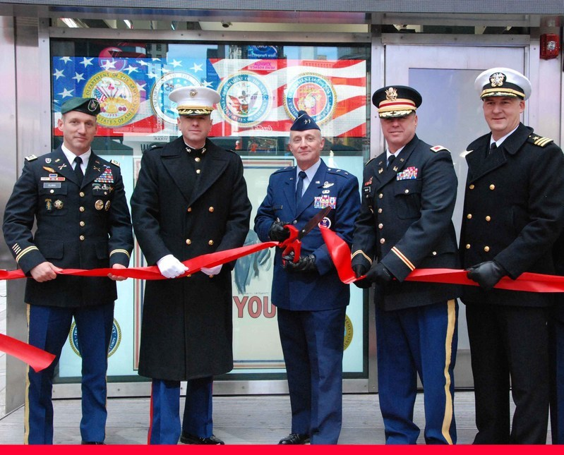 The Times Square station is the first joint armed-forces recruiting station in the country.