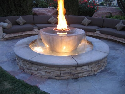 Water fountains with a fire element are gaining in popularity.