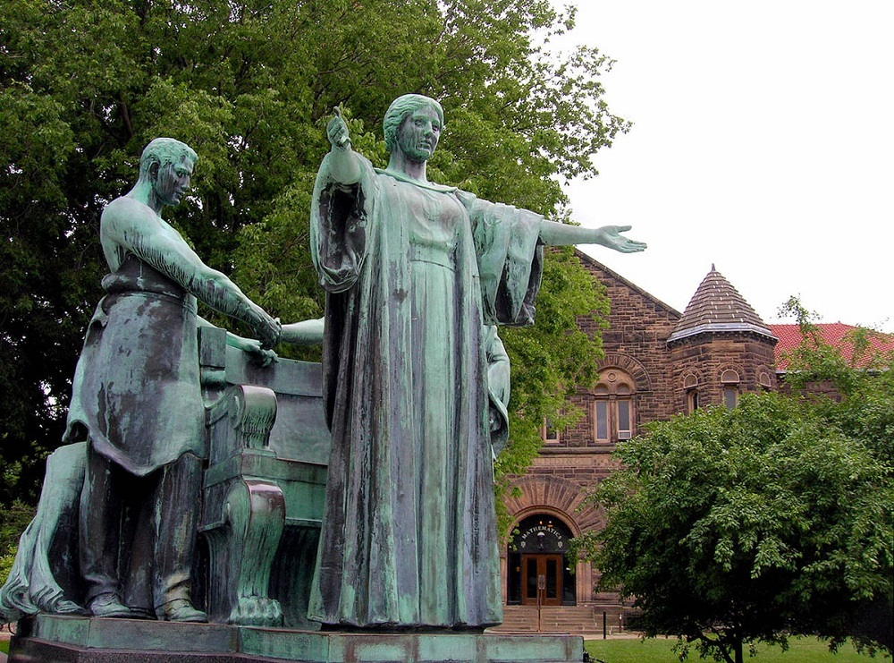The statue of Alma Mater on the University of Illinois at Urbana-Champaign campus.