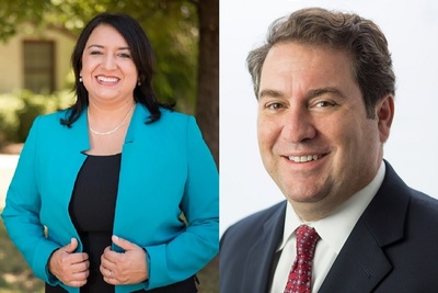 Republican Arizona Attorney General Mark Brnovich, right, and his Democrat challenger January Contreras