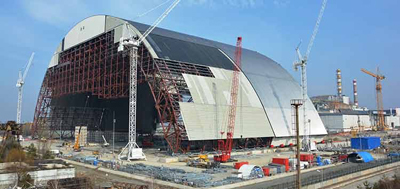 A New Safe Confinement facility is being constructed in order to protect against continued radiation from the Chernobyl disaster