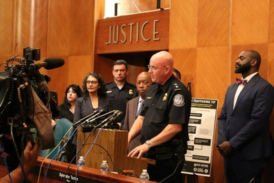 (From left) City of Houston Houston Mayor, Sylvester Turner looks on as Judson W. Murdock II, CBP Director of Field Operations Houston speaks about the Blue Lightning Initiative Program.