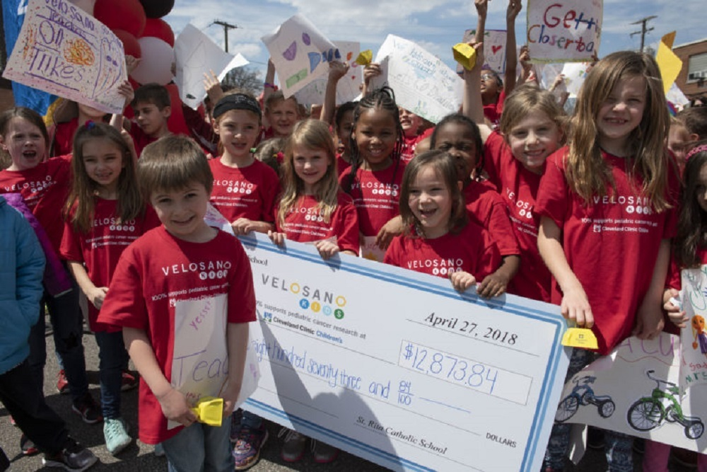 St. Rita's Catholic School in Solon raised nearly $13,000 for VeloSano Kids.