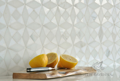 A sleek modern installation can be achieved using Esmerelda handmade mosaic tile by New Ravenna.
