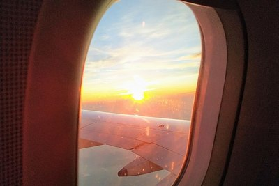 Medium sunlight of plane window