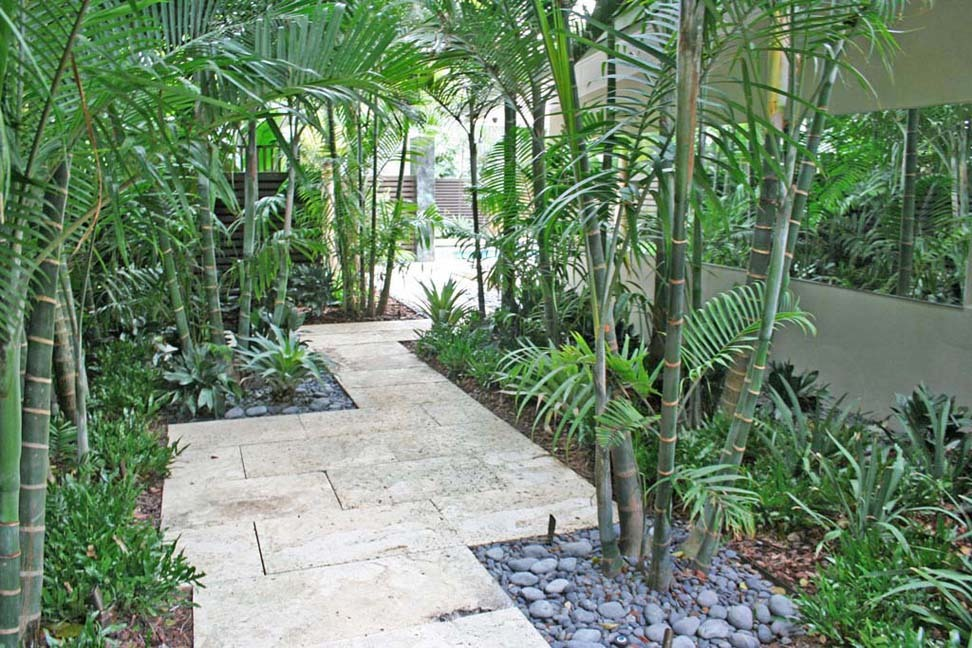 A meandering garden pathway designed by Carlos Somoza Design Studio