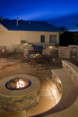 An outdoor living space can be relaxing year-round.