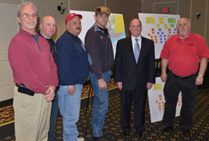 From left, Allen Richter, Conrail risk management; Darby Township Assistant Fire Chief Chris Caruso; Darby firefighter Steve Dinnella; Darby Fire Chief Bob Childs; Delaware County Councilman John McBlain; and John Casey, Norfolk Southern environmental ope