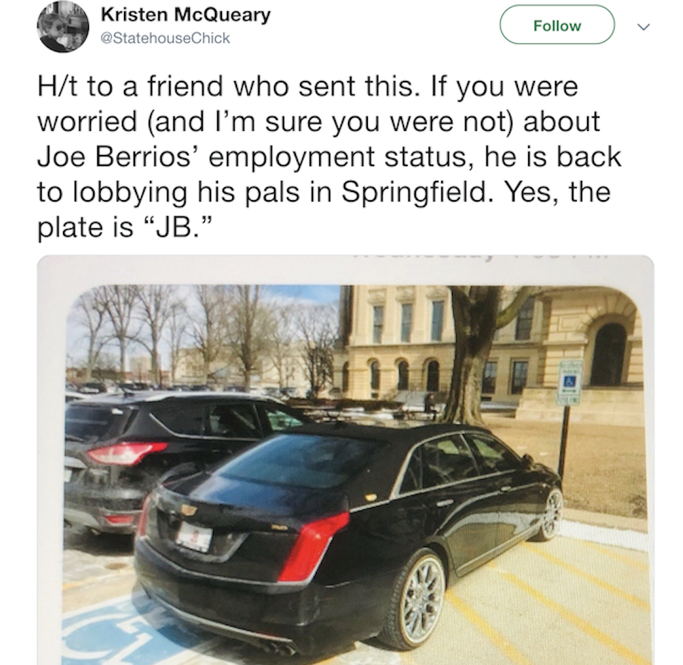 The Chicago Tribune's Kristen McQueary posted this Tweet after seeing Joe Berrios' car parked in a handicapped spot at the Statehouse.