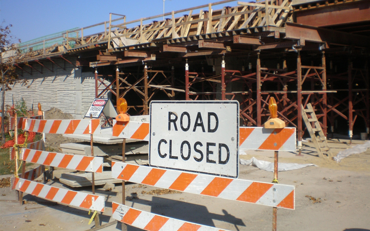 A road closure due to construction projectsin Wis.