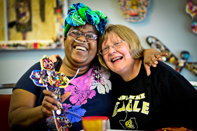 Clients of The Austin Harmony Project create art that is for sale at the organization's thrift store.