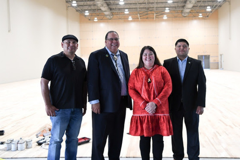 Assistant Secretary Sweeney joins Governor Lewis and members of the Gila River Indian Community during a tour of the school while under construction.  DOI Photo by Tami Heilemann.