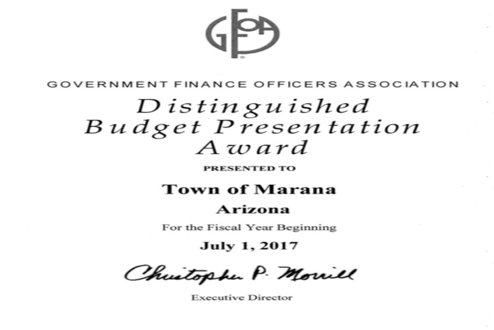 The award represents the high principles of budgeting of the Marana Town Council and the town's staff.