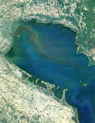 Plume of sediment in Saginaw River, leading to Saginaw Bay, Mich.