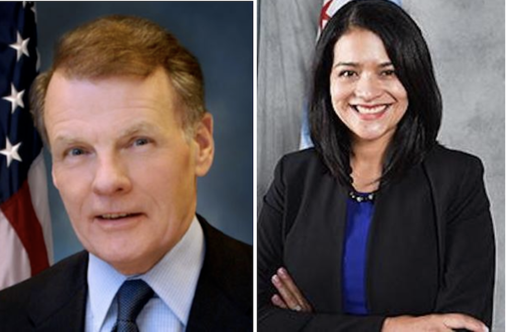 House Speaker Michael Madigan, left, and 23rd Ward Ald. Silvana Tabares