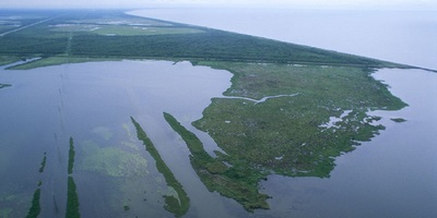 An aerial view of Louisiana wetlands.