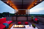 Fire pits can be used for many purposes, such as a casual space for enjoying drinks.
