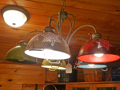 Colanders can make very cool-looking light fixtures.