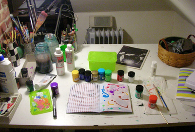 Sometimes an art studio is just a small table packed away in a quiet corner.