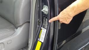 The VIN contains the vehicle's year and model specific information.