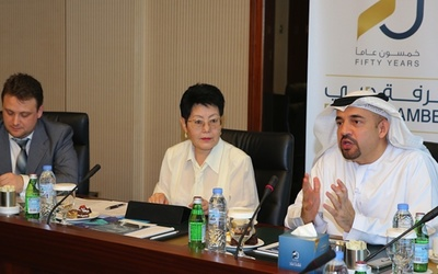 Habih Al Mulla, chairman of the Dubai International Arbitration Centre, discusses good arbitration practices with a delegation from the Kazakh Ministry of Justice.